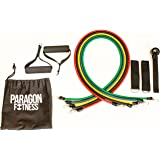 Paragon fitness 11pc Exercise Resistance Training Band Set, 5 Tube Set with Handles, Door Anchor, Ankle Straps, Workout guide and Carry Bag for Home and Outdoor use - Best for Men & Women