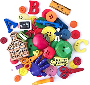 Buttons Galore and More Collection Round Novelty Buttons & Embellishments Based on Variety of Themes, Holidays and Seasons for DIY Crafts, Scrapbooking, Sewing, Cardmaking and other Projects – 50 Pcs