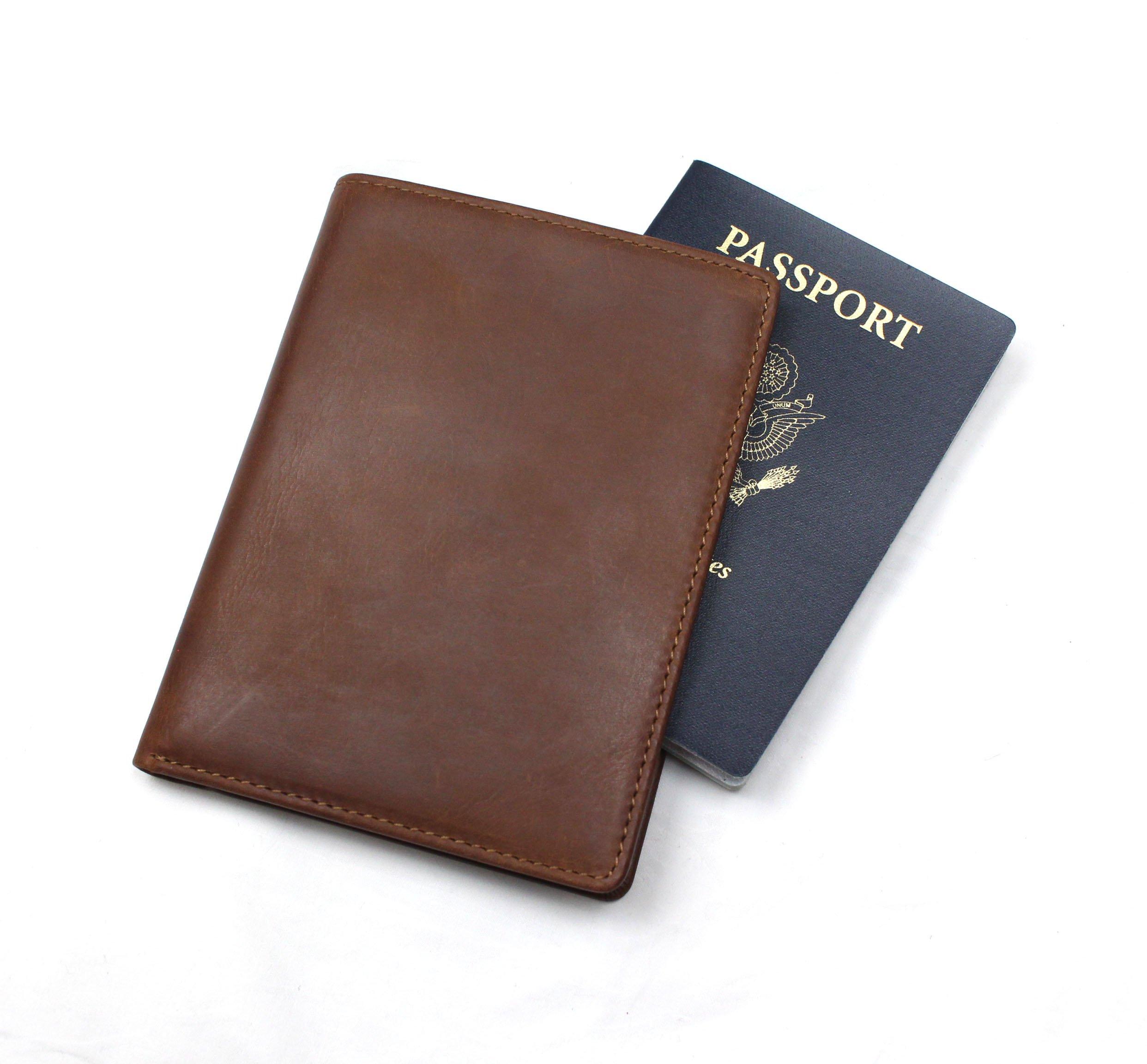 RFID Blocking Passport Holder Travel Wallet - Genuine Crazy Horse Leather by Habitoux (Image #2)