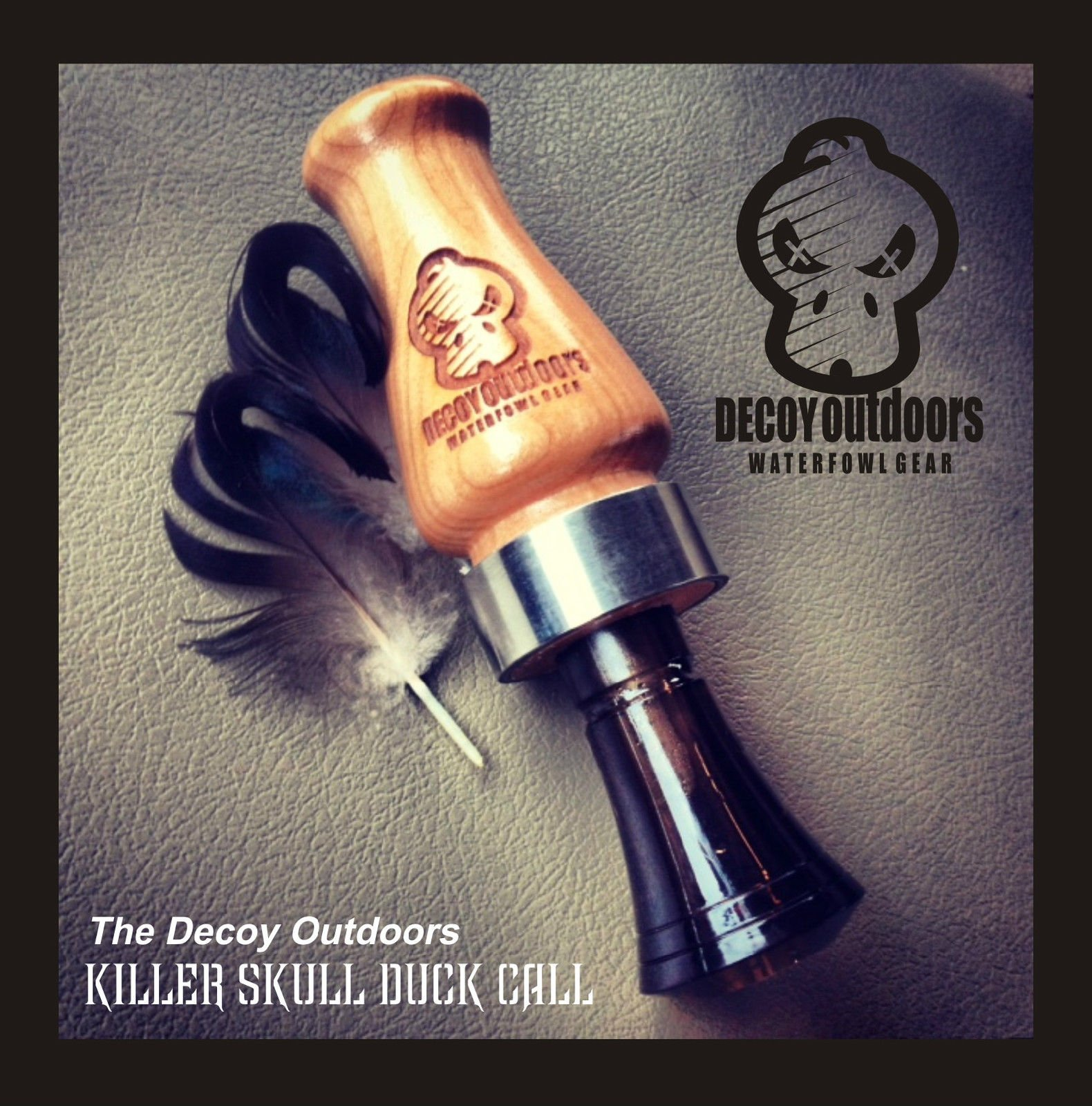Decoy Outdoors Wooden Duck Call with Killer Skull Logo