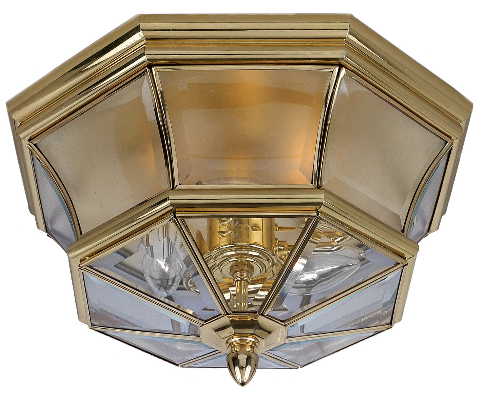 Quoizel NY1794B Newbury Outdoor Flush Mount Ceiling Lighting, 2-Light, 120 Watts, Polished Brass (8'' H x 15'' W) by Quoizel