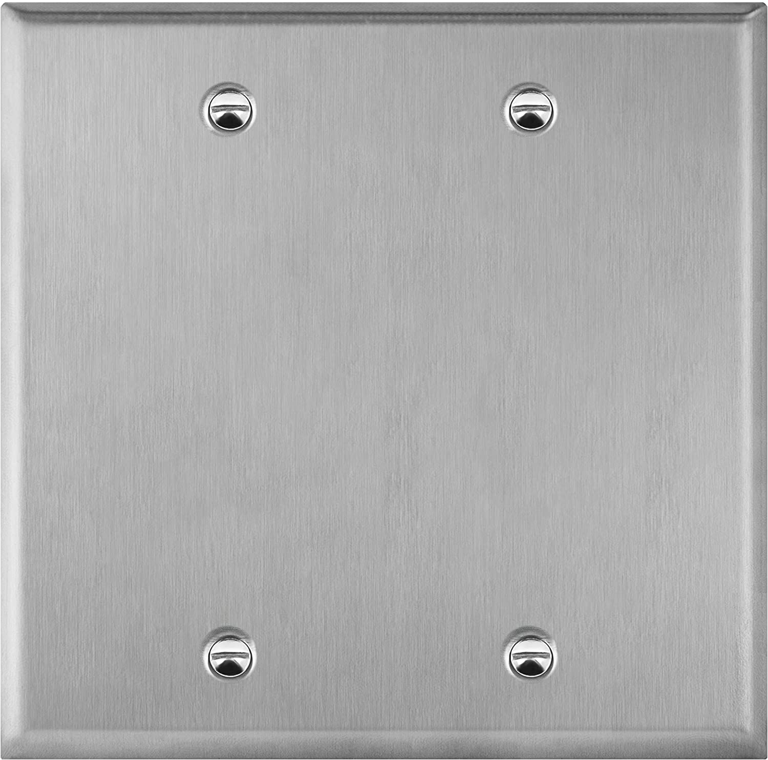 "ENERLITES Blank Device Stainless Steel Wall Plate, Metal Corrosive Resistant Cover for Unused Outlets Light Switches Holes, Size 2-Gang 4.50"" x 4.57"", 7702, 430 Stainless Steel, UL Listed, Silver"