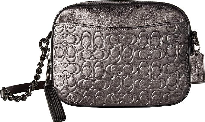 7977f08a9 COACH Women's Metallic Signature Leather Camera Bag Gunmetal/Metallic  Graphite One Size