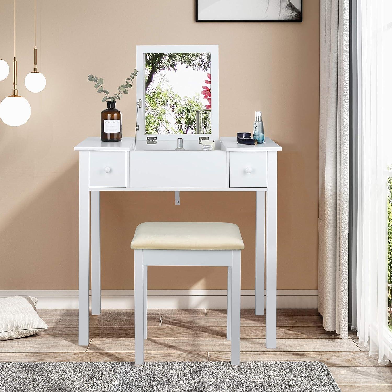 EUGAD 0023SZT Schminktisch mit Aufklappbarem Spiegel und Hocker Frisiertisch mit 2 Schubladen Gro/ße Tischplatte 75x40cm Schreibtisch Kosmetiktisch f/ür Schlafzimmer Wei/ß