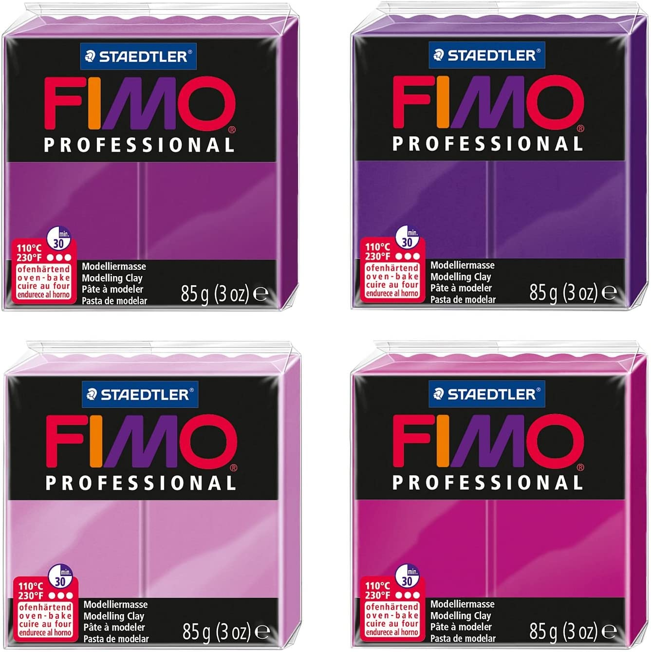 Fimo professional Modelliermasse blaut/öne 4 Bl/öcke 85 g Staedtler 8004 AMZ 05