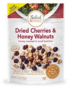 Salad Pizazz! | Dried Cherries & Honey Toasted Walnuts Salad Topping | 42 OZ - 12 3.5OZ (3.5 Ounce) Resealable Bags