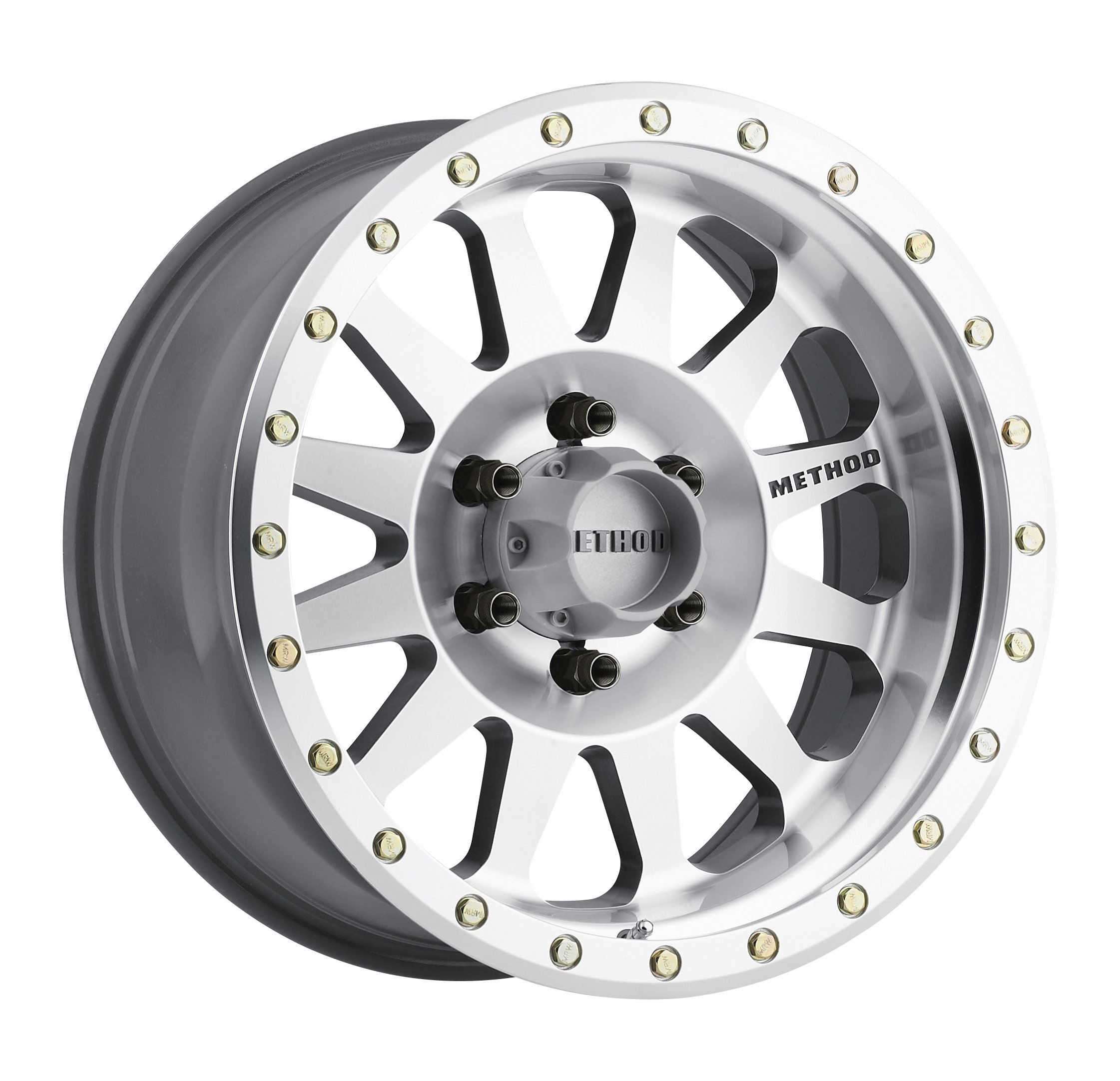 Method Race Wheels Double Standard Machined/Clear Coated Wheel with Machined Finish and Zinc Plated Accent Bolts (18x9''/5x5'', -12mm offset) -12 mm offset by Method Race Wheels (Image #1)
