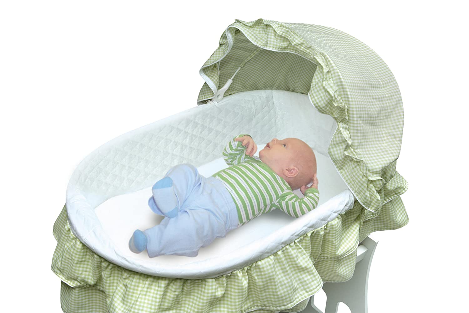 Attrayant Amazon.com : Badger Basket Portable Bassinet U0027N Cradle With Toybox Base,  Sage Gingham : Rocking Bassinets Girly : Baby