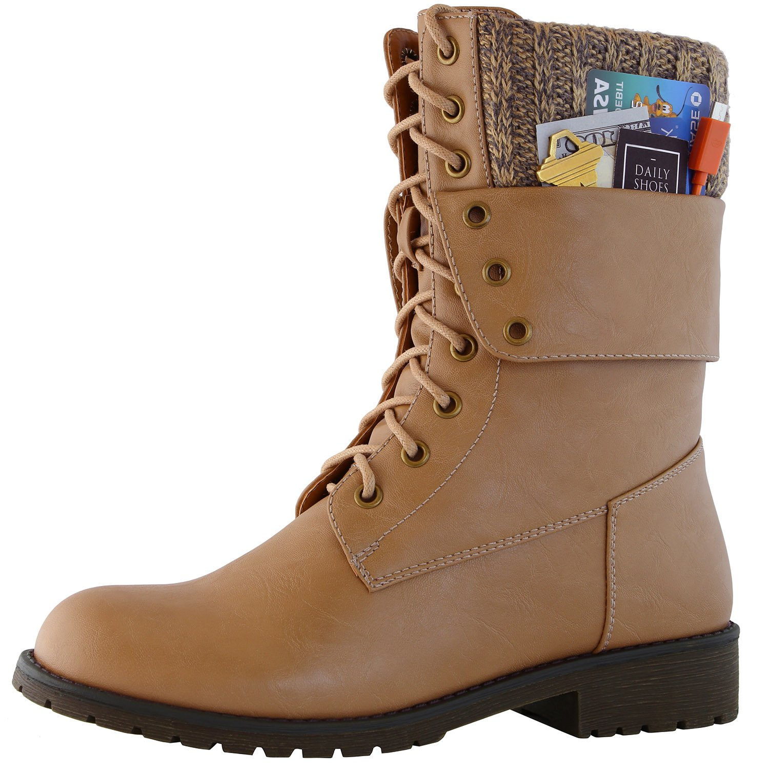 DailyShoes Womens Military Lace up Buckle Combat Boots Ankle Mid Calf Fold-Down Exclusive Credit Card Pocket, Beige Pu, 5