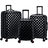 Rockland Quilt Hardside Expandable Spinner Wheel Luggage Set, Black, 3-Piece (20/24/28)
