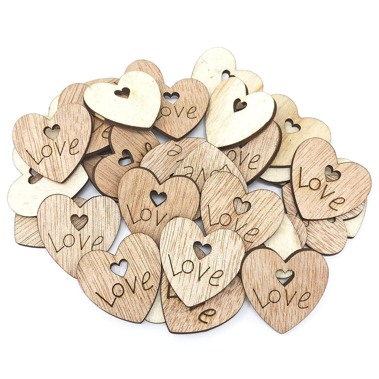 Love Hearts Wooden ShabbyChic Craft Scrapbook Vintage Confetti Hearts Mixed Size