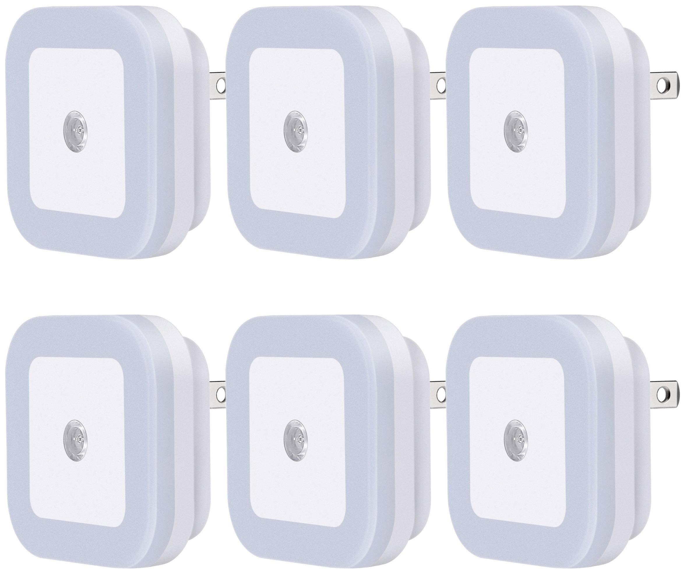 Sycees SC01 Plug-in LED Night Light Lamp with Dusk to Dawn Sensor for Hallway, Kitchen, Bathroom, Bedroom, Stairs, Daylight White, 6-Pack