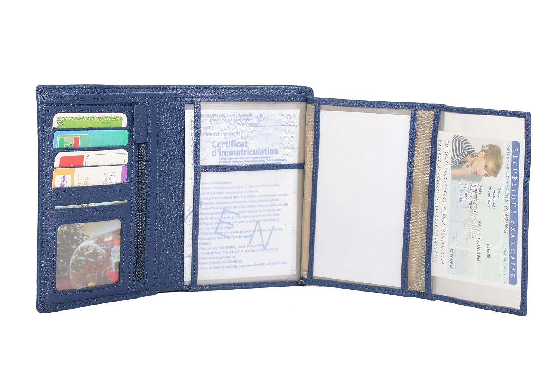 Frédéric Johns® - Grand portefeuille en cuir de vachette véritable très pratique avec 4 volets - 10 emplacements pour cartes - cuir grainé souple qualité - homme ou femme - Idée cadeau (Violet) L0kXdMLQuF