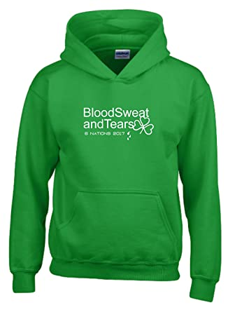 Blood Sweat And Tears Ireland Six Nations 2017 Kids Rugby Hoodie