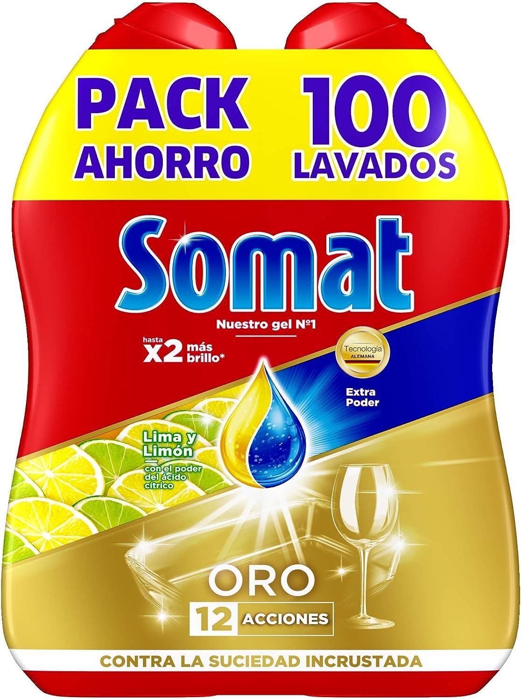 Somat Oro Gel Detergente para Lavavajillas Limón 2x50 Lavados