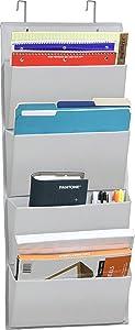 4 Pockets - Wall Mount/Over Door Office Supplies File Document Organizer Holder