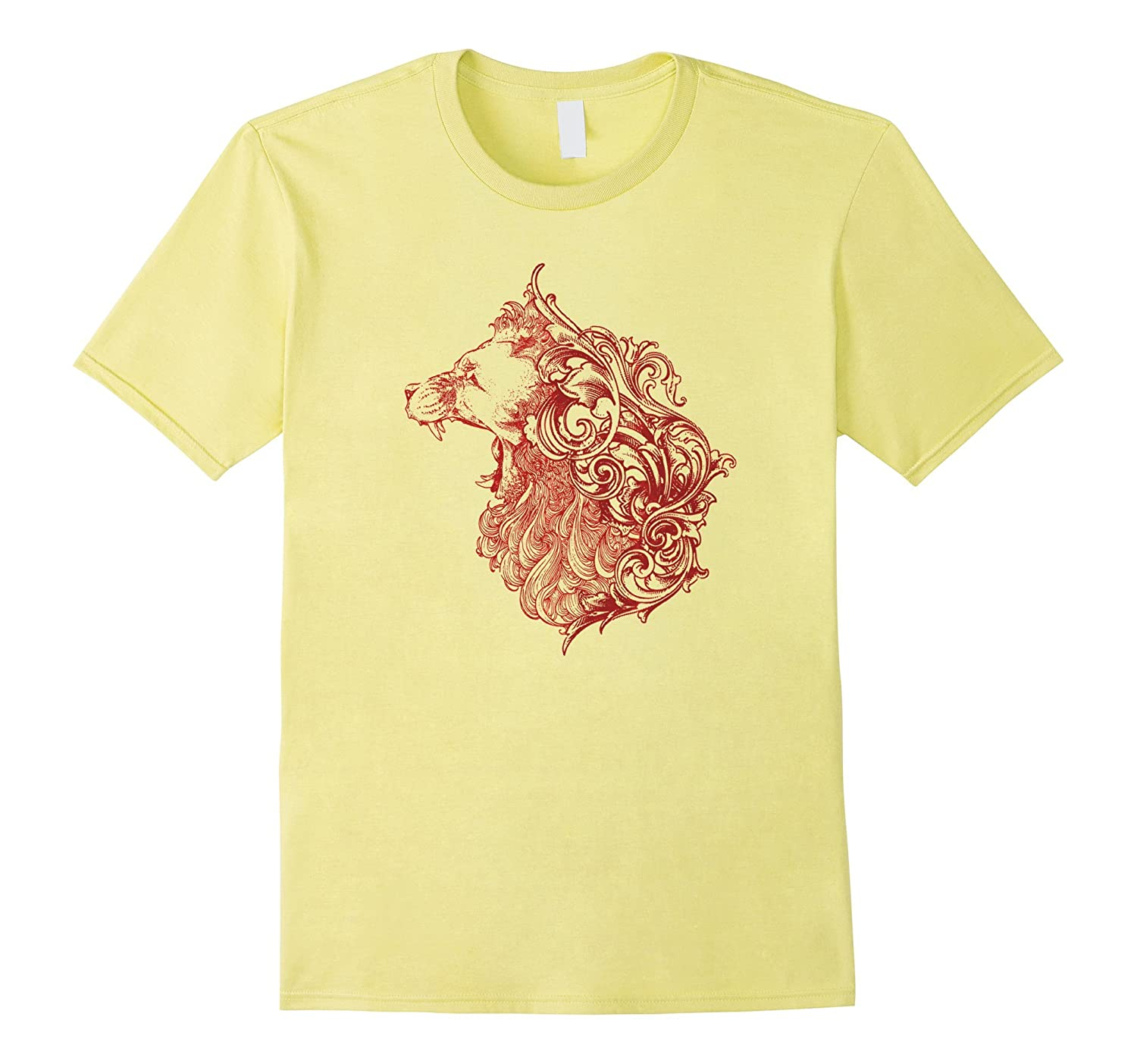 Angry Red Lion Roar Animal Lover Graphic Tshirt Tee-Art