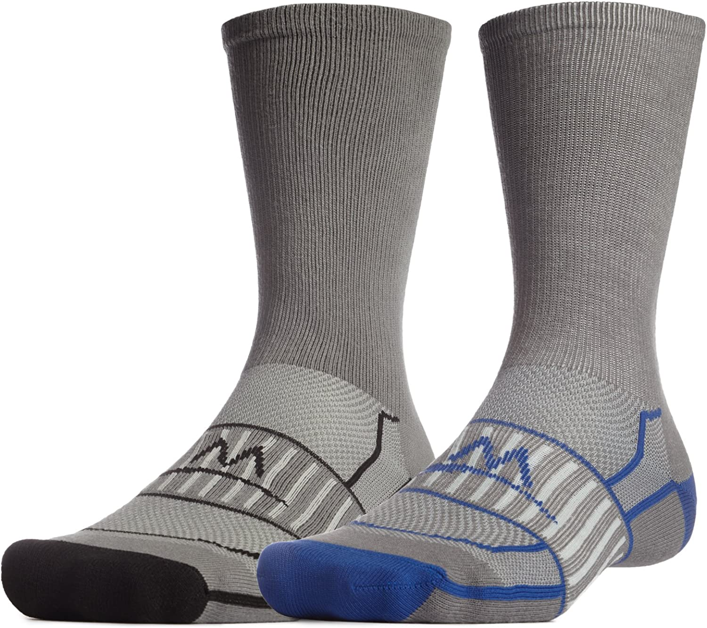 Mission Men's VaporActive Performance Crew Socks (2 Pack)