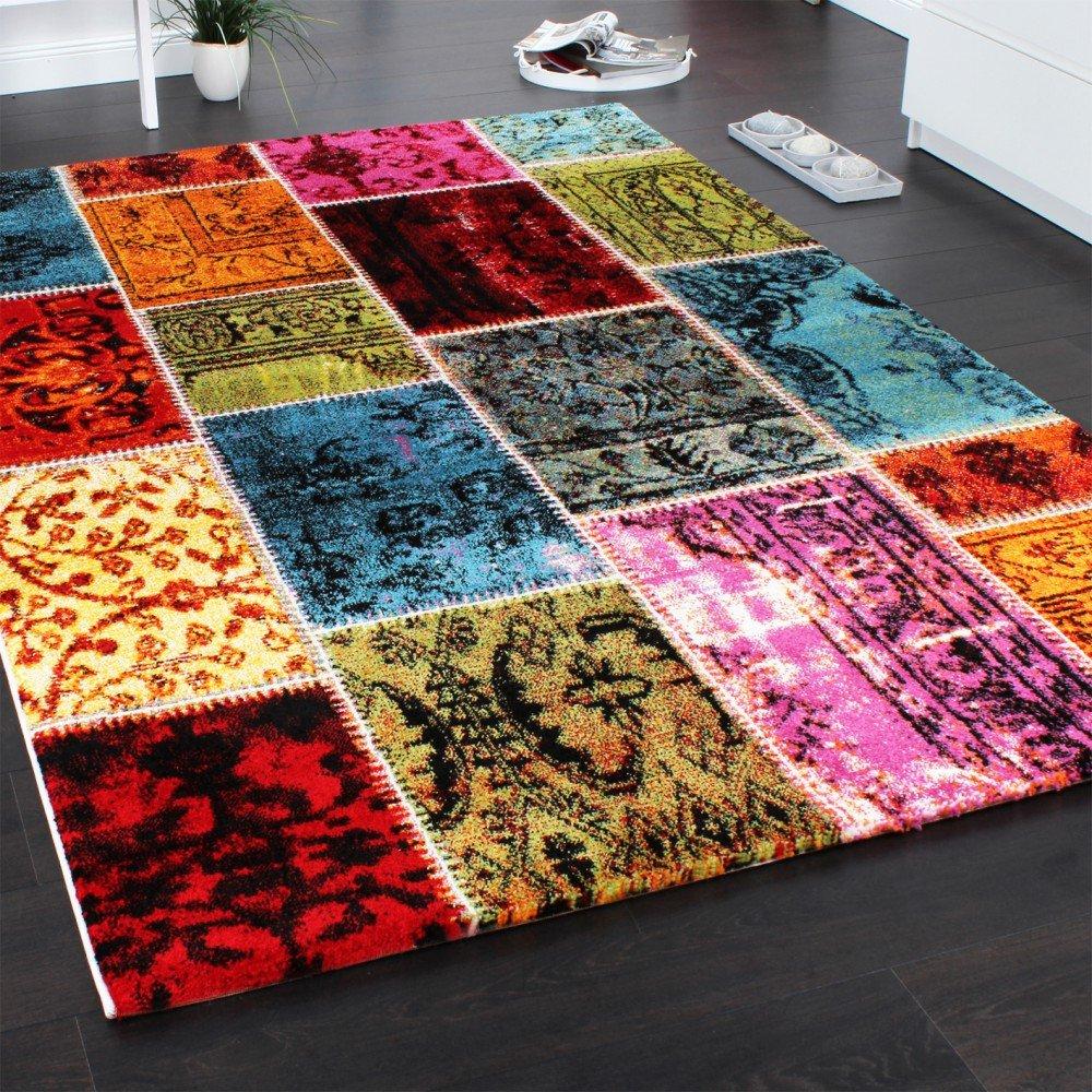 PHC Teppich Modern Designer Teppich Patchwork Vintage Multicolour Grün Rot  Gelb Blau, Grösse:160x230 Cm: Amazon.de: Küche U0026 Haushalt