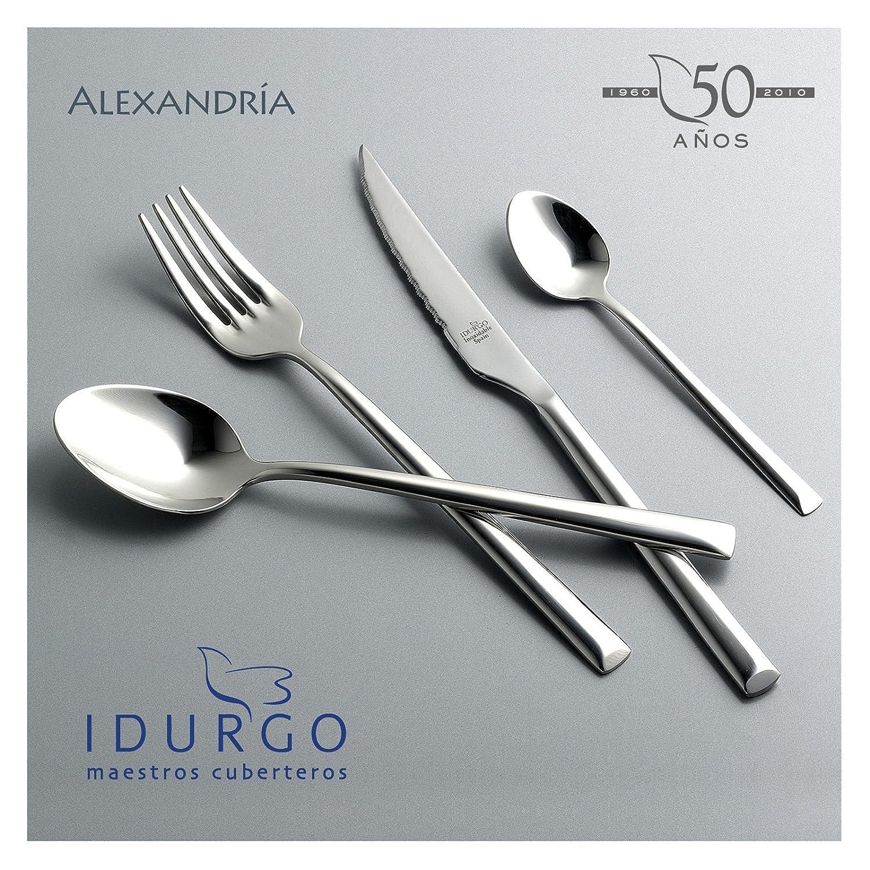Idurgo 18200 ALEXANDRIA - Set de 24 Cubiertos en Acero Inoxidable 18/10 Stranffor B6 Grosor 3 mm, Calidad Premier con Doble Pulido Brillo Espejo, ...