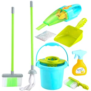 JOYIN 7 Pcs Housekeeping Toy Set Including Broom, Electronic Vacuum Mop, Dustpan, Brush, Spray Bottle and Bucket for Kids Pretend Play Cleaning Set, Household, Indoor, and Outdoor Activities