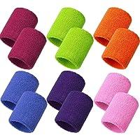 Meet-shop Zweetbanden, absorberend, zweetband voor pols, 6 para, elastische katoenen sportpolsbanden voor tennis, squash…