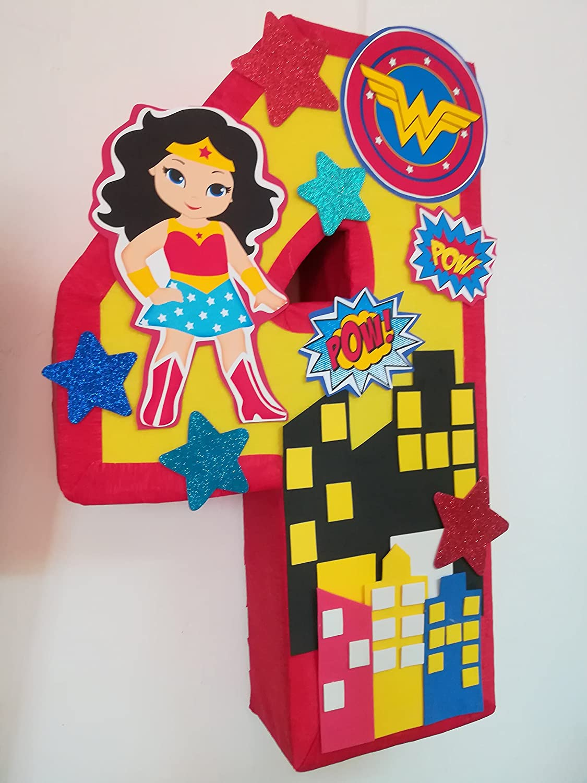 super hero party supplies Wonder Woman birthday party Wonder Woman number 4 pinata
