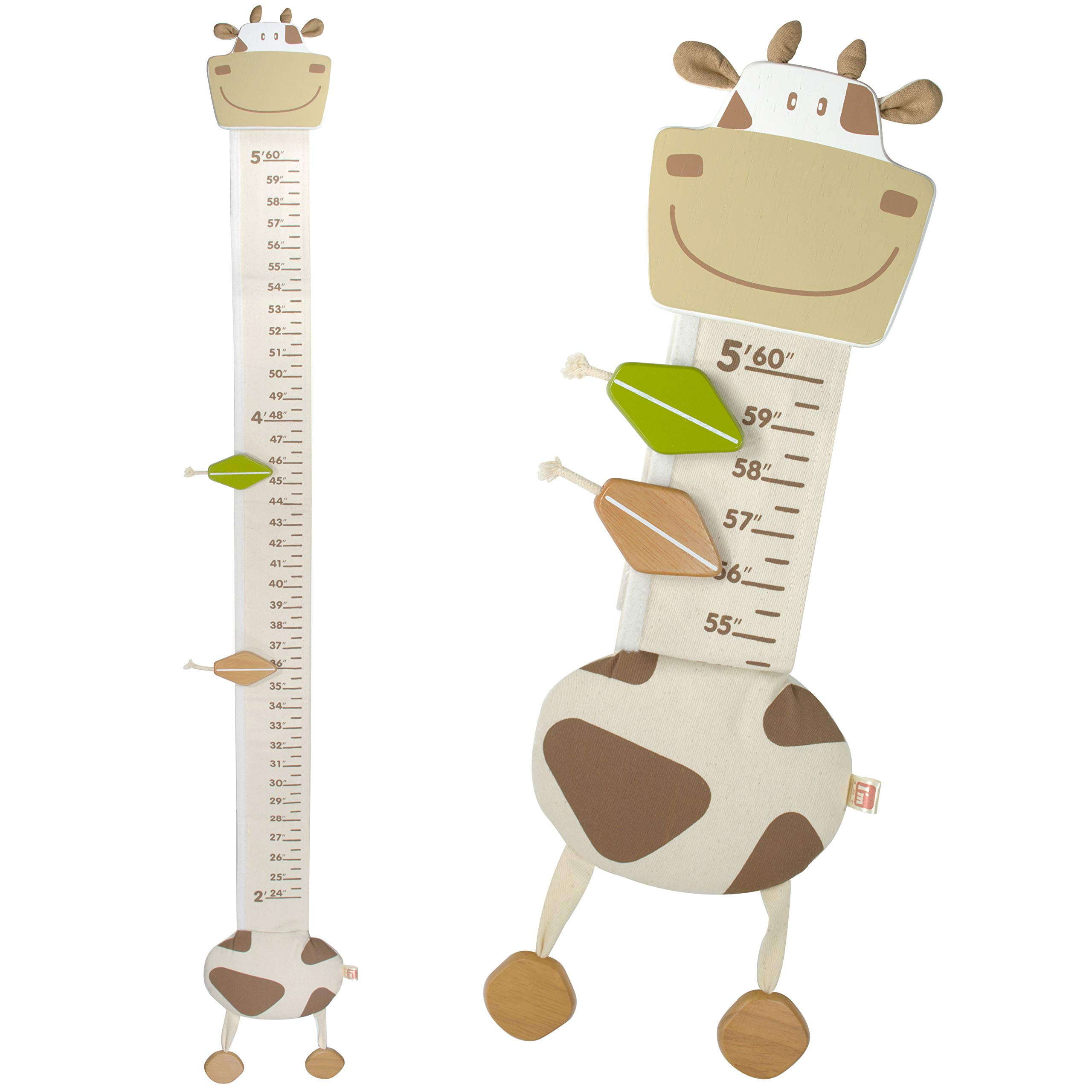 I'm Wood and Fabric Wall Growth Chart, Height Measurement, Scale, Ruler for Kids (Cow)