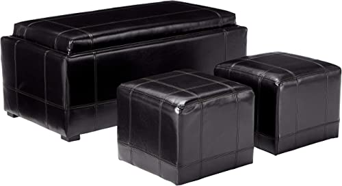 Christopher Knight Home Five Brooks Leather Storage Ottoman and Poufs Set