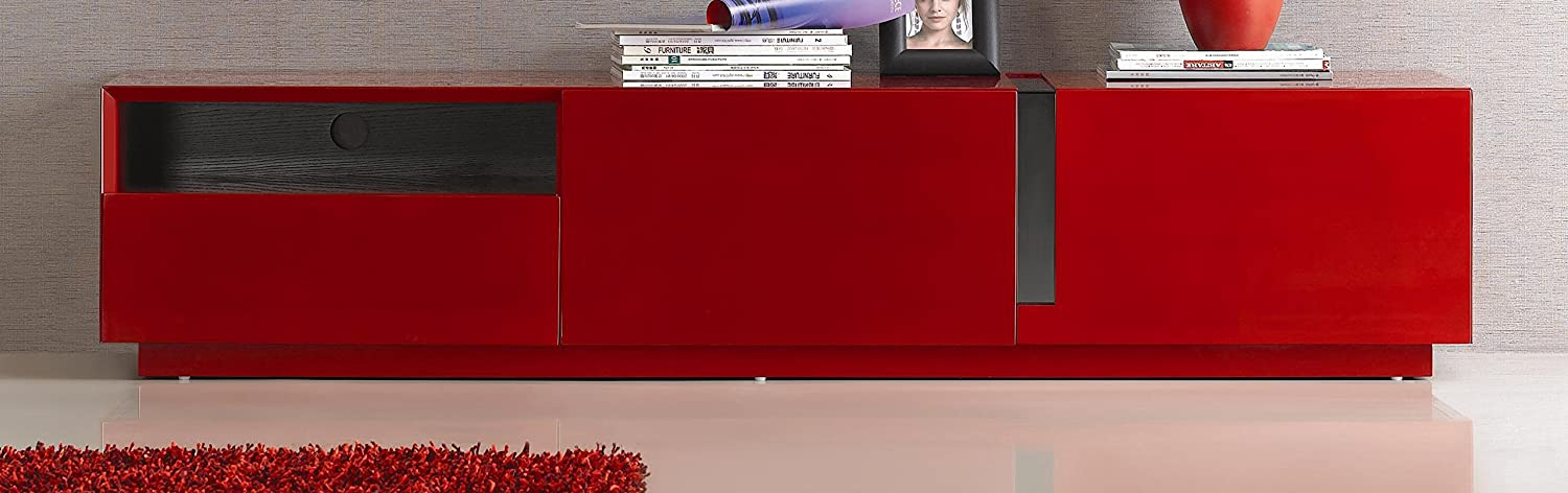 Amazon.com: J and M Furniture 17639 TV Stand, Red High Gloss ...