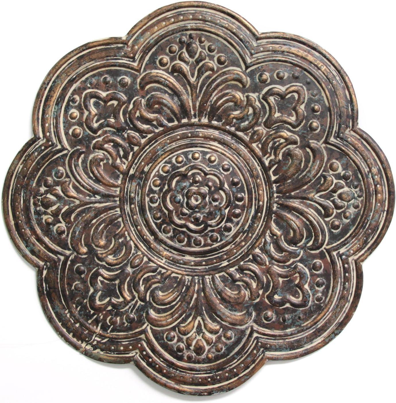 Stratton Home Décor S11571 Rustic Bronze Medallion Wall Décor, 18.00 W X 0.50 D X 18.00 H, Brown