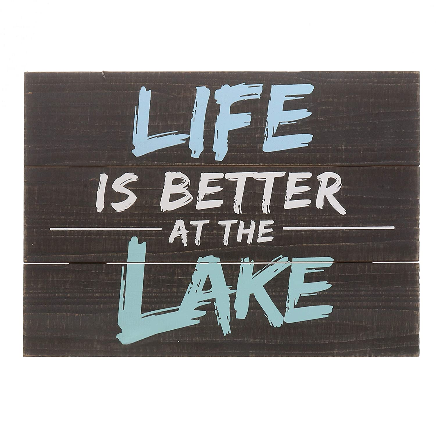 """Barnyard Designs Life is Better at The Lake Decor Sign Rustic Wood Lake House Cabin Home Wall Decoration 15.75"""" x 11.75"""""""
