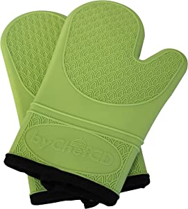 ByChefCD Professional Silicone Oven Mitts/Heat Resistant Gloves Non-Slip Professional Cooking Gloves, Kitchen Potholders and Oven Mitts, Grill Gloves Heat Resistant, Green