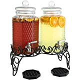 Dual Gallon Glass Beverage Dispensers with Decorative Metal Stand, Stainless Steel Spigot, Drips Trays - Double Drink Dispens