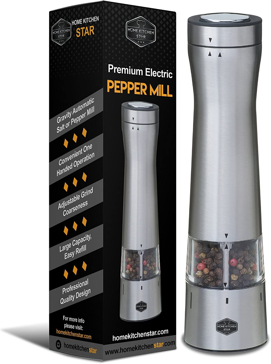 Premium Electric Pepper Grinder or Salt Mill - Bottom LED Light, Adjustable Grind Coarseness, Automatic Battery Operated, One Handed Electronic, Black PepperMill, New Modern Design (Stainless Steel)