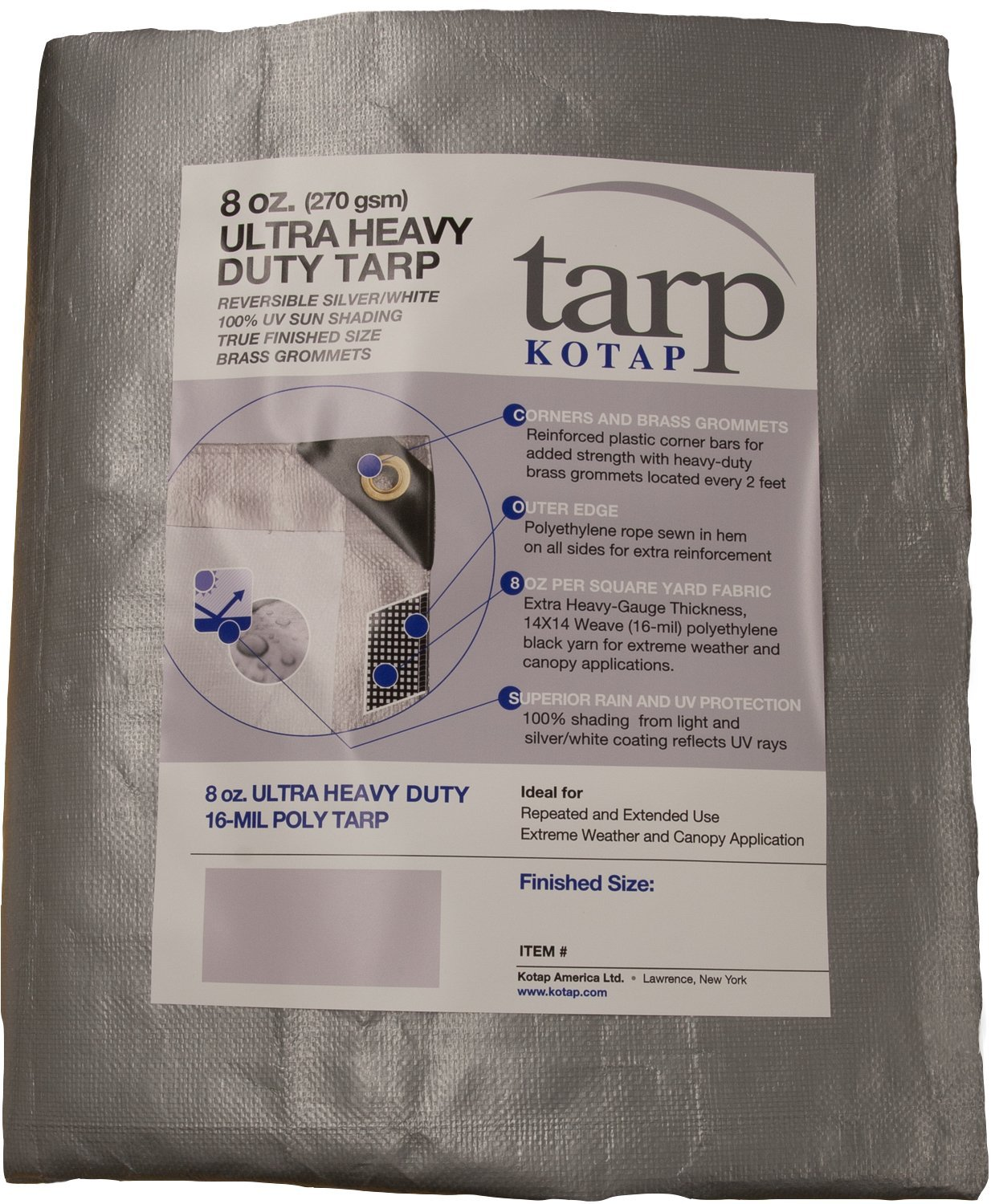 Kotap TUH-1220 Finished Size Ultra Heavy-Duty 8 oz/16-mil Poly Tarp, 12' x 20', Reversible Silver/White by Kotap