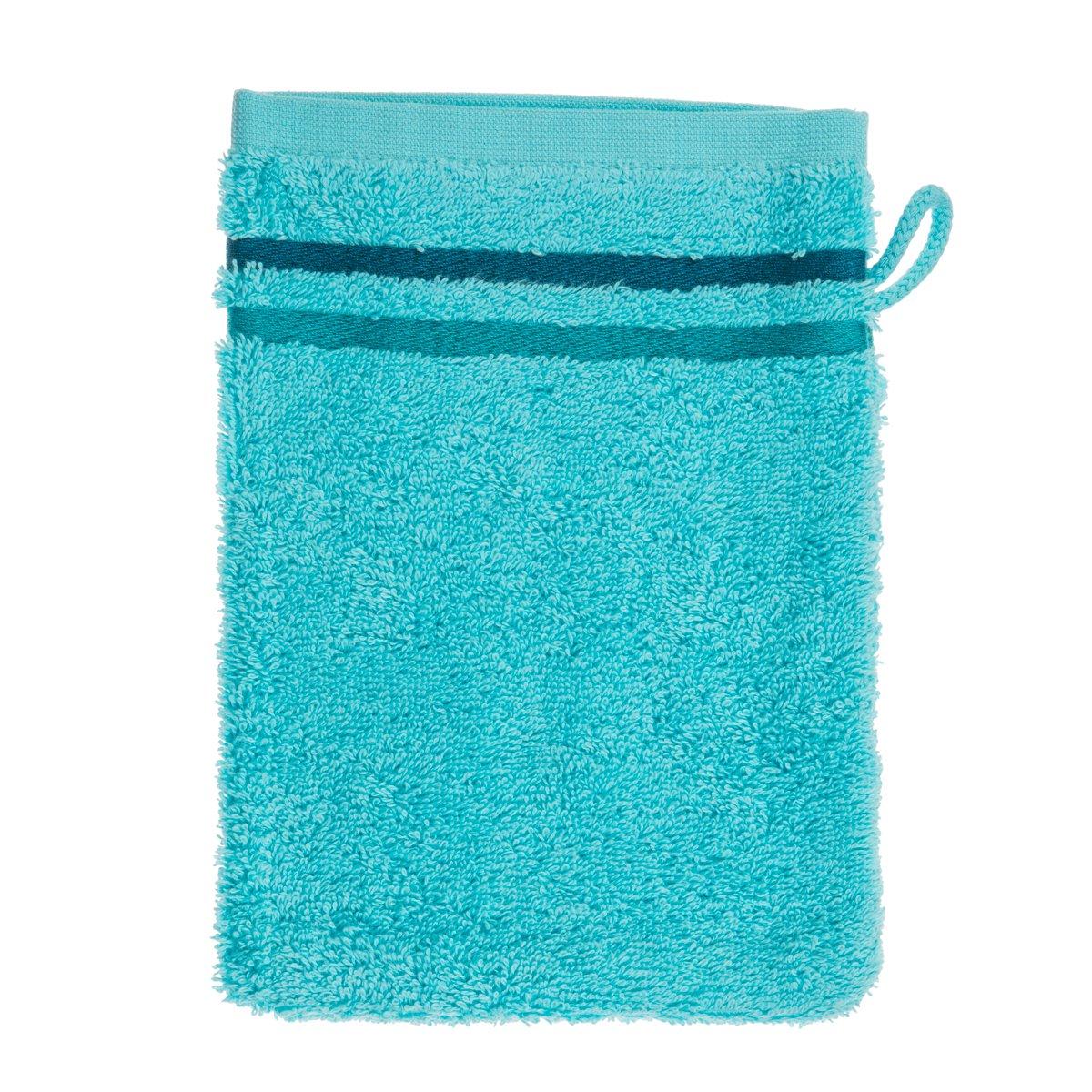 Schiesser 101079 Skyline Color - Guanto da bagno in spugna, 16 x 22 cm, colore: turchese