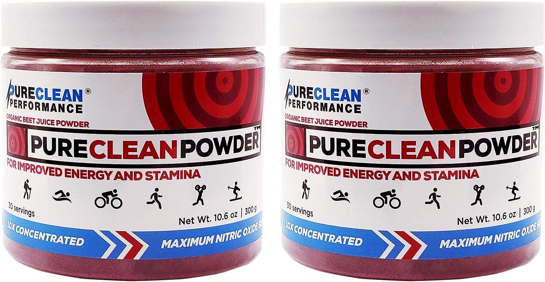 PureClean Powder Organic Beet Juice Powder, 100% Pure Red Beet Powder, Paleo-Friendly Superfood Powder, Nitric Oxide Booster, 2 Jars, 60 Servings – PureClean Performance