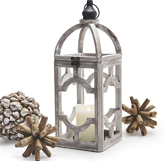 "Alabaster Design Wood Decorative Candle Lantern Rustic 15.5"" Home Decor Hurricane Lantern for Indoor Outdoor Use Hanging Lantern"