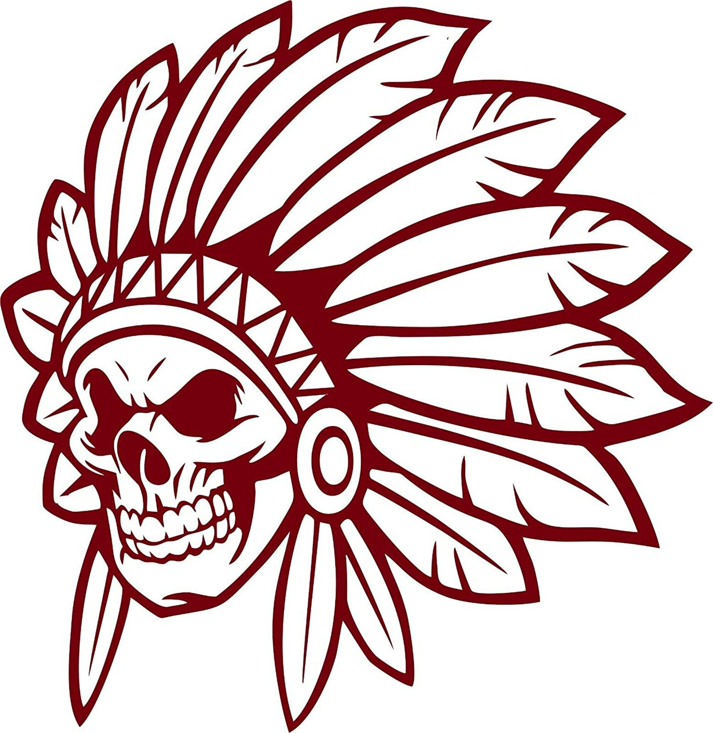 Native American Indian Chief Skull Face Skeleton Headdress Car Truck Window Vinyl Decal Sticker
