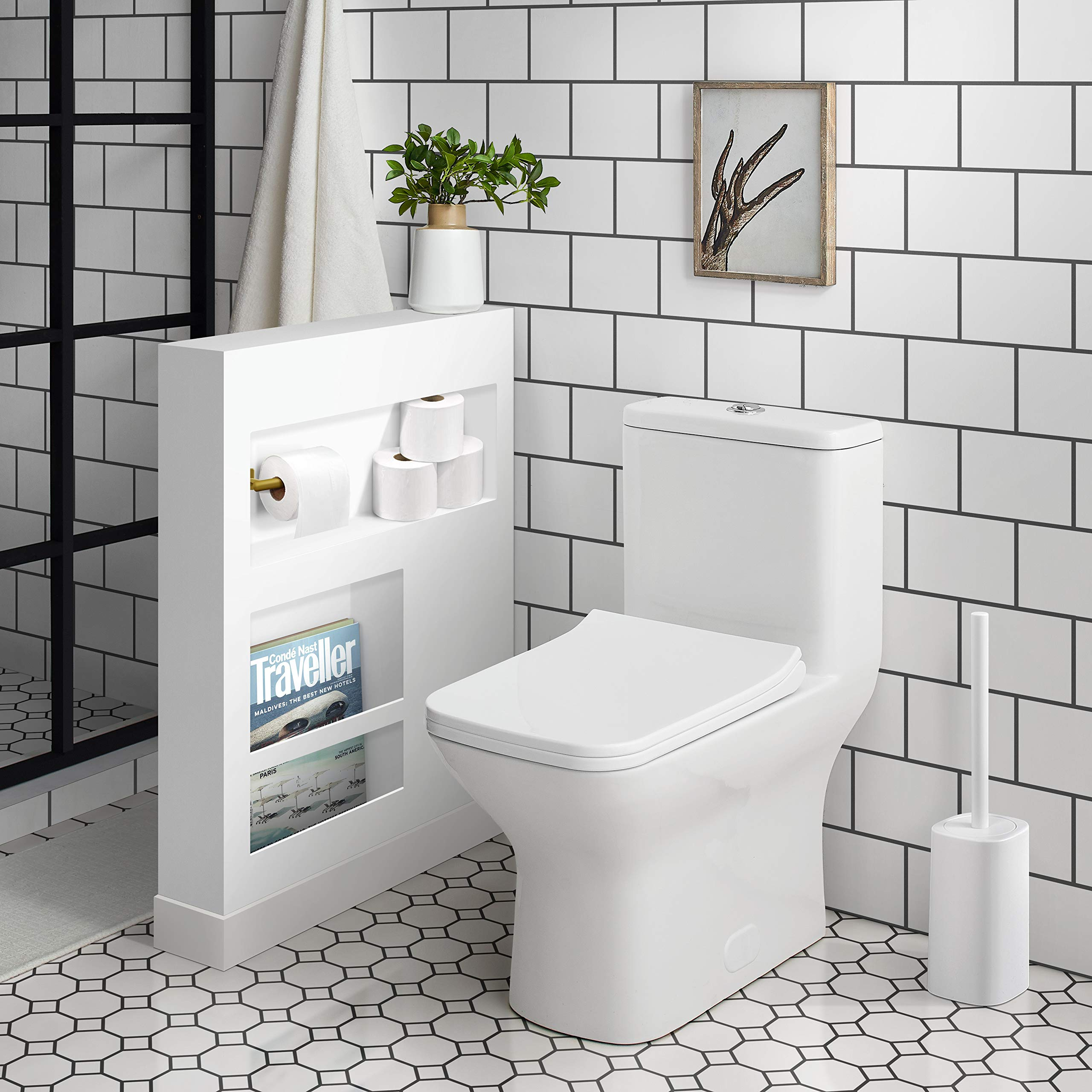Swiss Madison SM-1T256 Carré One Piece Elongated Toilet Dual Flush 0.8/1.28 gpf by Swiss Madison