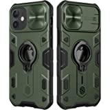 CloudValley Compatible with iPhone 12, 12 Pro Case with Camera Cover & Kickstand, Slide Lens Protector + 360° Rotate Ring Sta