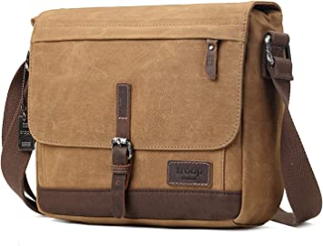 Dark Brown Troop London Heritage Canvas Leather Messenger Bag Tablet Friendly Shoulder Bag TRP0426 Canvas Leather Satchel
