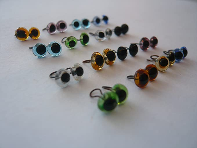 12 Mix Set Blue|Clear|Amber Eyes for Needle Felting craft Bears Doll Cat 5mm