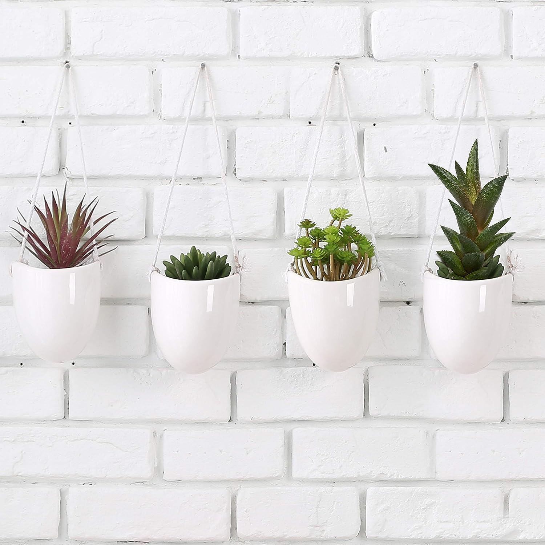 macetas decorativas de cerámica blanca para colgar en la pared, juego de 4
