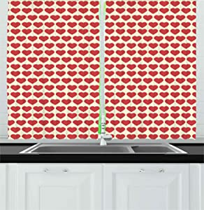 Ambesonne Valentine Kitchen Curtains, Vibrant Red Colored Heart Shapes Tile Pattern Romantic in Love Theme Design, Window Drapes 2 Panel Set for Kitchen Cafe, 55 W X 39 L Inches, Ivory Dark Coral
