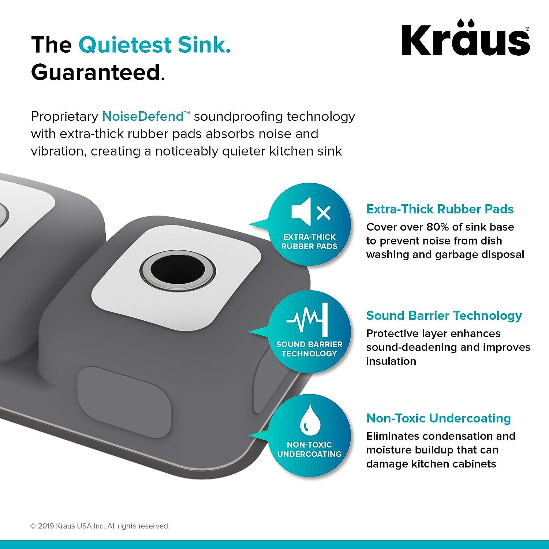 KRAUS KBU32 Premier 32-inch 16 Gauge Undermount 50//50 Double Bowl Kitchen Sink with Smart Low Divider