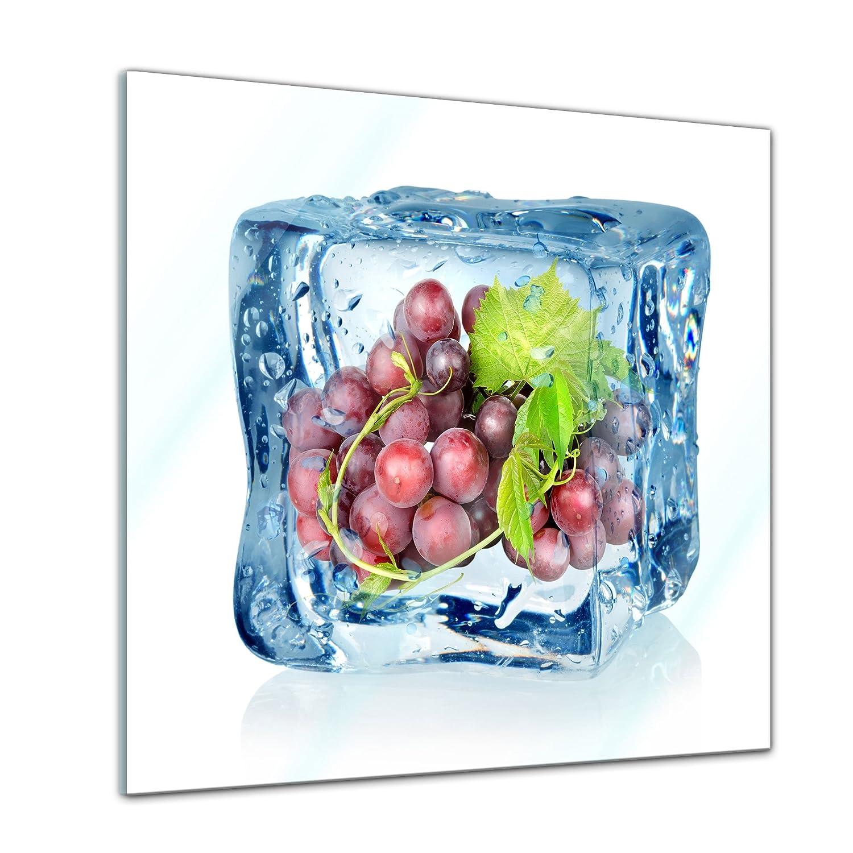 Glasfoto Wandbild aus Glas Glasbild Deko Glas Eisw/ürfel Weintrauben blau Echtglas Handmade Bild auf Glas Moderne Glasbilder 20x20 cm kein Acryl