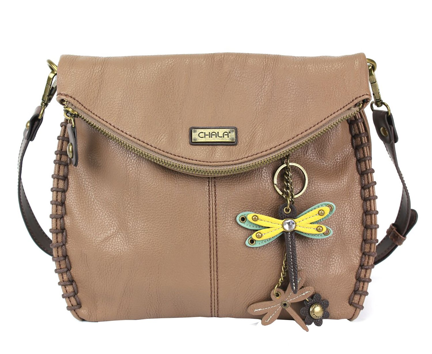 Chala Charming Crossbody Bag with Zipper Flap Top and Metal Chain - Light Brown - Mini Dragonfly