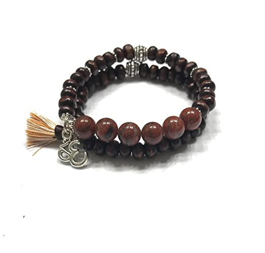Amazon com: Natural Red Jasper and Wood Bracelet Set of 2